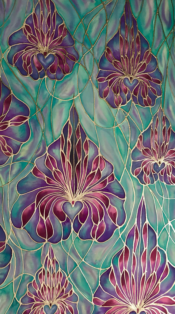 Orchid silk painting - original art