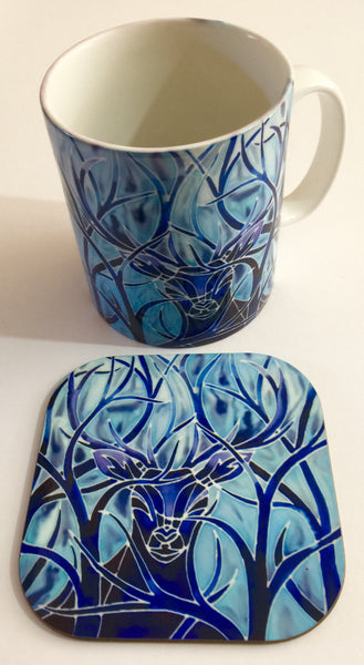 Stag Mug and Coaster box set or mug only - Blue Mug Set - Wild Stag Mug Gift - Woodland Lovers gift