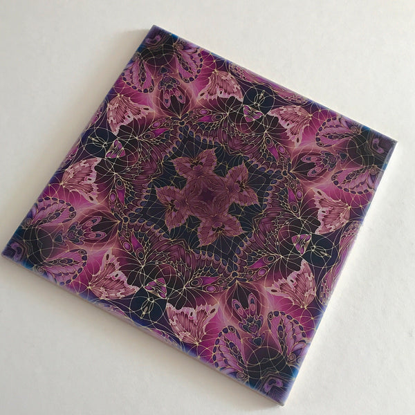 Contemporary Plum Butterfly Tiles - Beautiful Ceramic Bohemian Tiles - Ceramic Printed Tiles