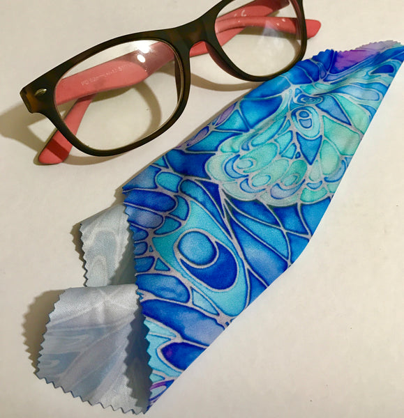 Butterflies glasses case turquoise - slip-on padded glasses cover - Reading or Large Glasses Cover