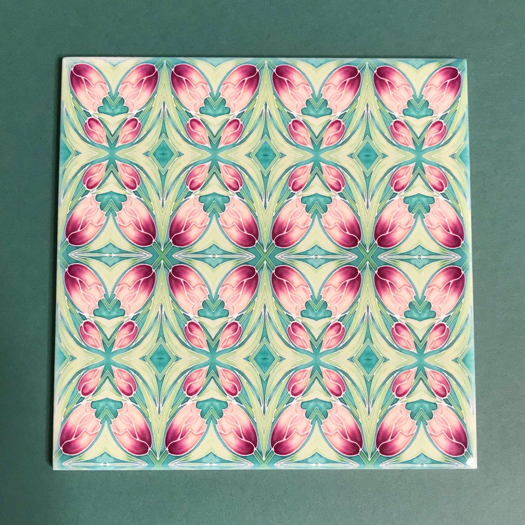 Nouveau Pink Tulips Tiles. Arts and Crafts look Bathroom Tiles or Kitchen Tiles