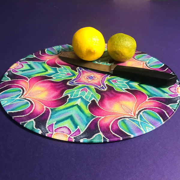 Round or Rectangular Glass Purple Iris Kaleidoscope Chopping Board
