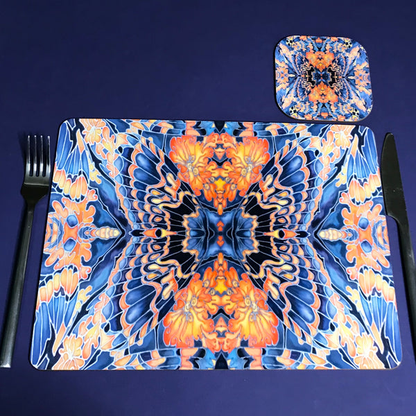 Dramatic Bright Pink Red Yellow Orange Placemats & Coasters - Red Pink Orchid Table Mats - Red Yellow
