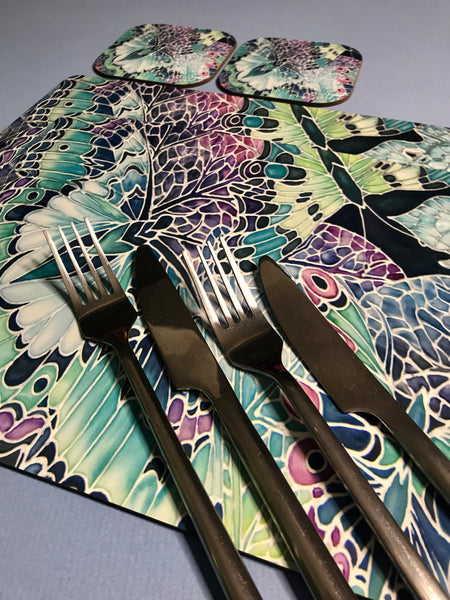 Butterfly on Leaves hard wearing Table Mats - Teal Pink Plum Charcoal Green Tableware