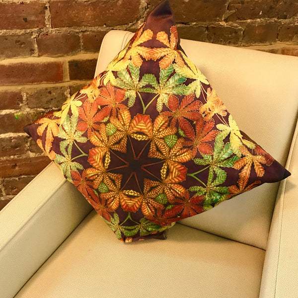 Lush Velvet Leaves Cushion - Green Terracotta Leaves Pillow - Leaves Velvet Cushion