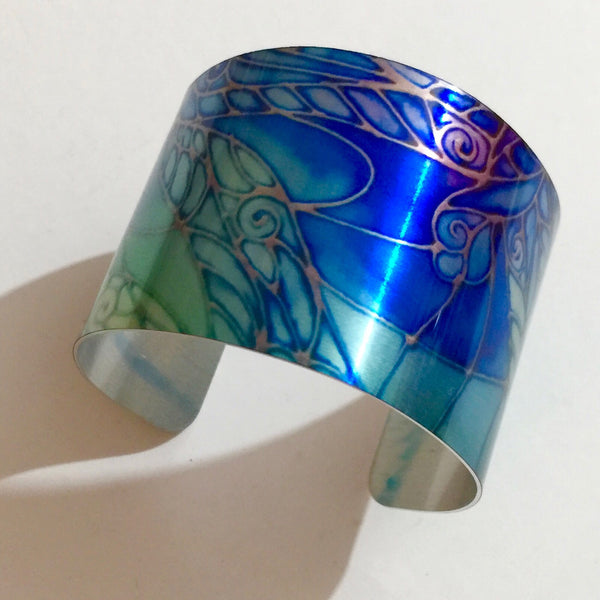Contemporary Cuff Bracelet - Dragonfl Jewellery - Blue green Bracelet