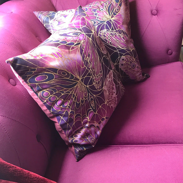 Rich plum cushions, throw pillows, accent cushion, butterfly design Meikie Designs