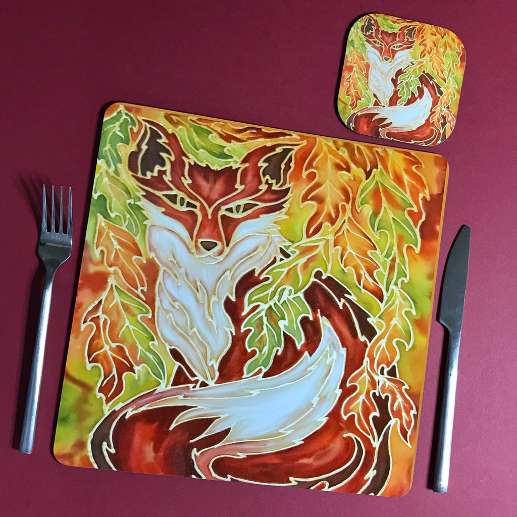 Red Fox Square Table Mats & Coasters - Wildlife Table Mats