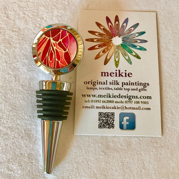 Red Butterfly Bottle Stopper - Gift for Him or Her - Bottle Bung in Red Yellow - Wine bottle stopper