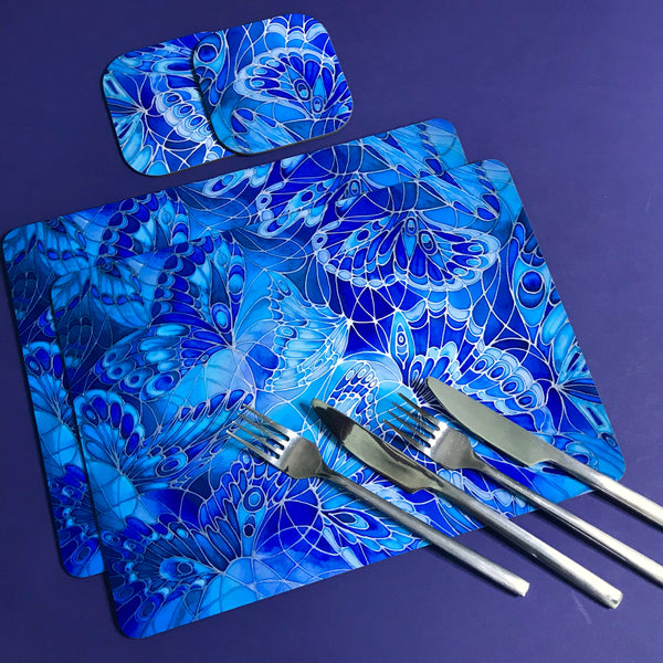 Deep Blue Butterflies Placemats - Blue Table Mats & Coasters, Blue glass chopping boards