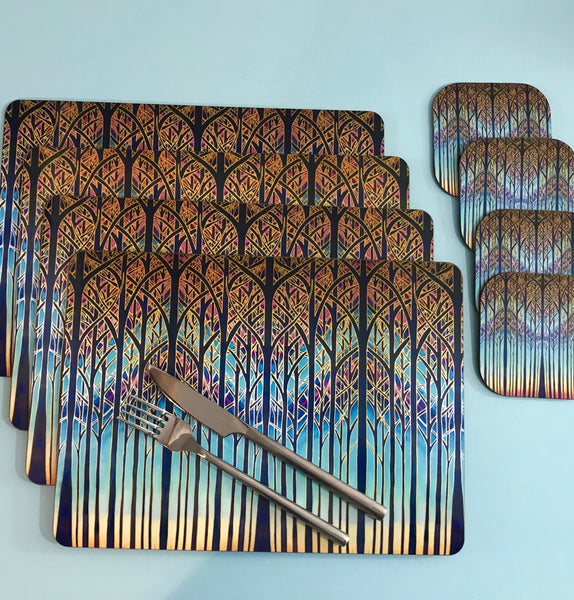Turquoise Blue Table Mats - Tall trees place mats - Cathedral chopping boards