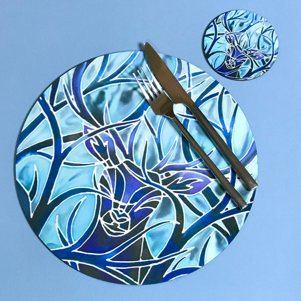 Round Blue stag Table Mat and Coaster - Hard wearing beautiful place mats