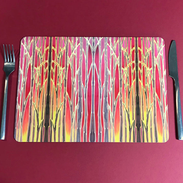 Sunset Trees Placemats and Coasters - High Quality Table Mats - Warm Red Tableware