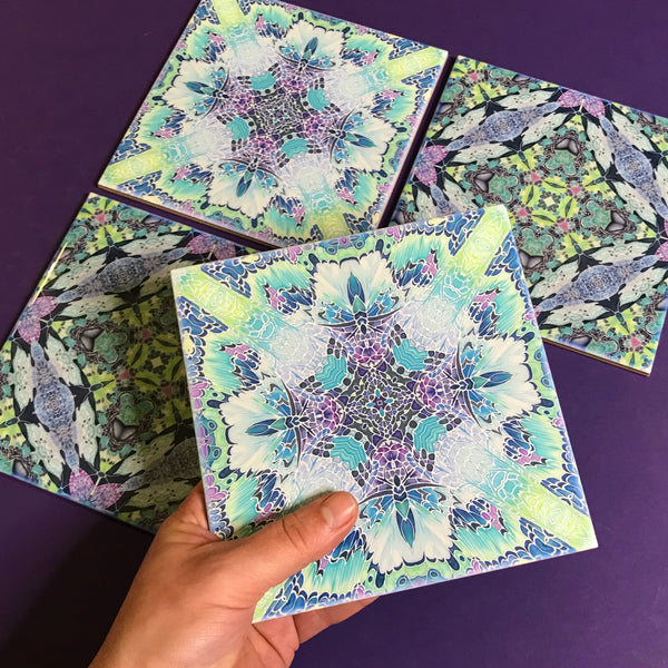 Butterfly Kaleidoscope Mixed Set of Bathroom Tiles - Pastel Bohemian Kitchen Tiles