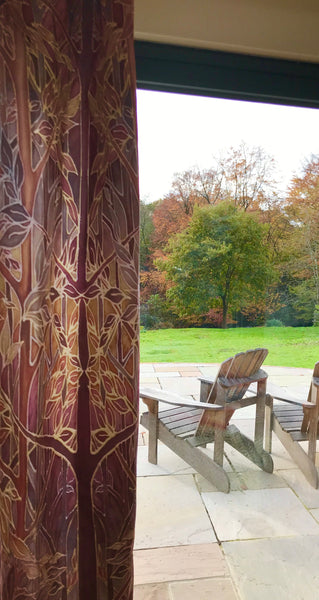 Rich Terracotta Rust Beaujolais Trees Designer Luxury Velvet fabric for curtains by the drop length needed