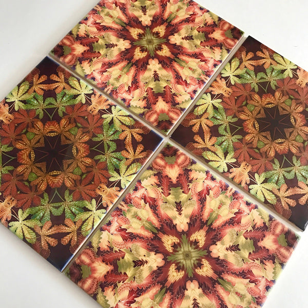 Mixed Leaves Ceramic Tile set - Meikie Kaleidascope Tiles - Contemporary Printed Tiles - Bohemian Tiles