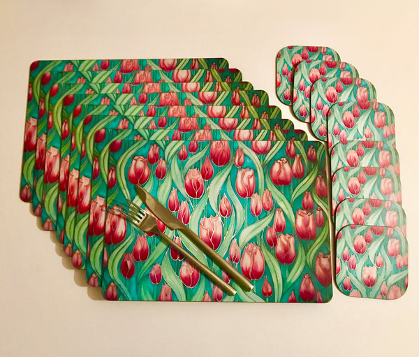 Tulips Placemats & Coasters - Pink Green Table Mats - durable hardwearing tableware