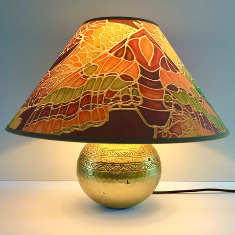 Green terracotta butterfly lampshade - bespoke lampshade - made to order lampshade