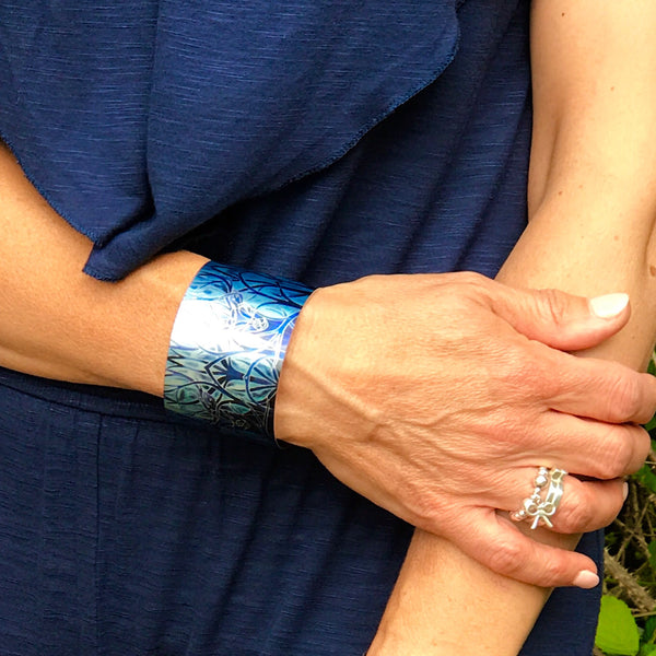 Midnight Stag Cuff Bracelet - Comtemporary Stag  Jewellery in Blue - easy wear lightweight aluminium.