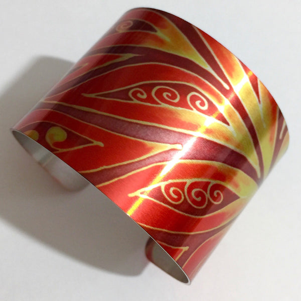 Fiery Cuff Bracelet - Modern Jewellery - Red Yellow Bracelet - Meikie Designs