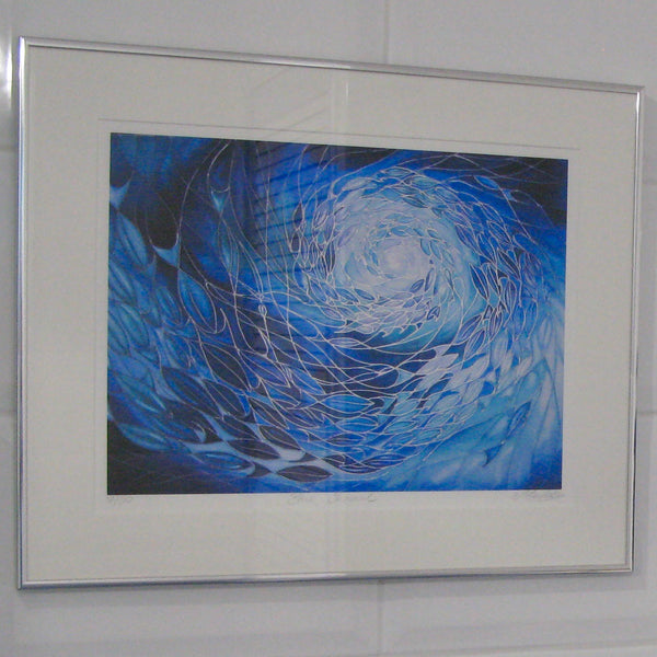 Blue Shoal swimming in the Sea - Deep Blue Shoal Print - Bathroom Art