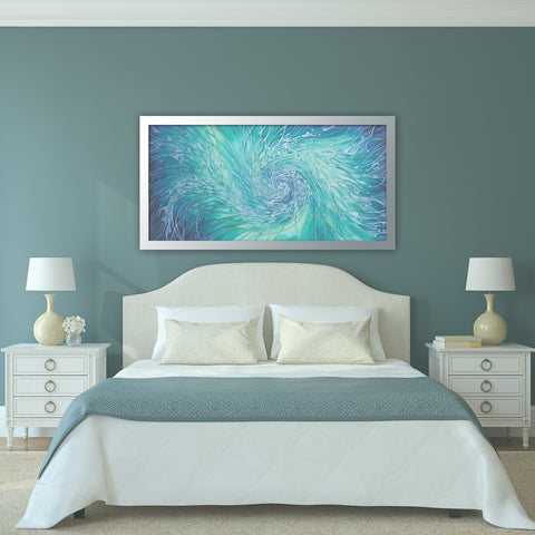 Swirling Sea Original Hand Painted Silk - Intertwined Shoal aqua blue green silk painting
