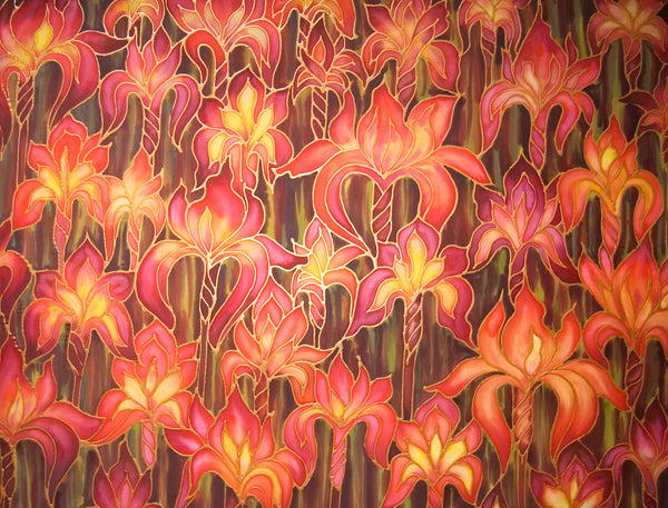 Red Irises Art - Iris silk Painting - Original Flower Art