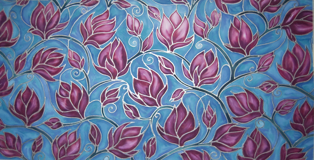 Magnolia Tree Pink and Sky Blue Original Silk Painting - hand painted silk Magnolias in contemporary sky blue and plum - Original Art