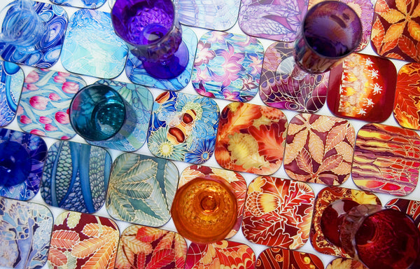 Clam Shells Table Mats - Blue Lilac Turquoise placemats, coasters, glass chopping boards, counter savers, serving trays, mugs, mouse mats