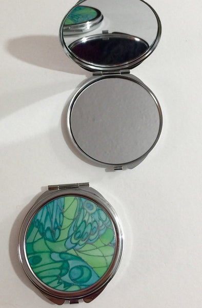 Green Butterfly Pocket Mirror - Pretty Butterfly Handbag Mirror - Gift for Her