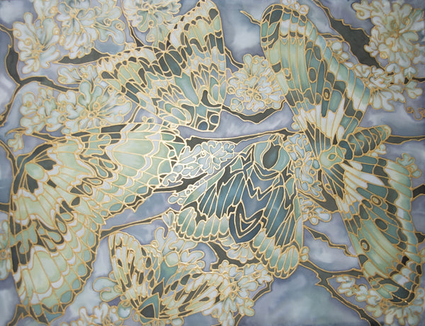 Moths on Lichen Art Print - Butterfly Signed Print - Moss and Teal Moth Art - Meikie Designs Art prints