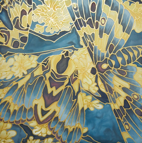 Moth on Lichen Painting - hand painted silk Butterflies - Blue Yellow Butterfly Original Art