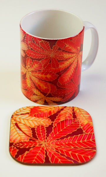 Horsechestnut Leaves Table Mats - Red Autumn Leaves Placemats, Red glass chopping boards