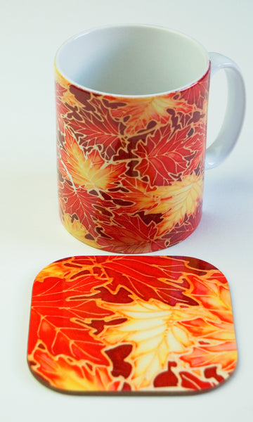 Autumn Maple Leaves Mug - Mug and Coaster box set