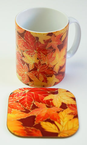 Autumn Leaves Mug - Mug and Coaster Box Set - Red Mug Set - Mug Gift