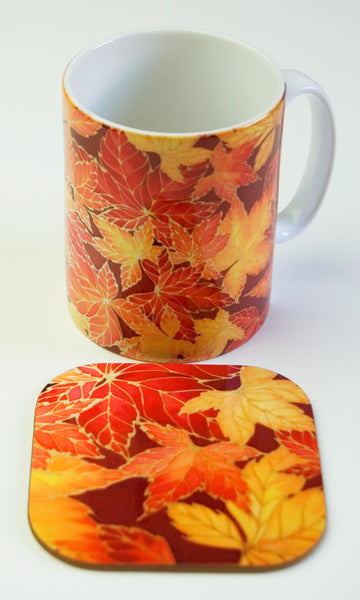 Autumn Leave Mug - Red Yellow Leaves Mug - Mug and coaster box set