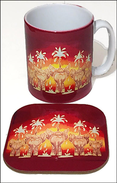 Elephant Mug and Coaster box set or mug only - Red Mug Set - Elephant family Mug Gift