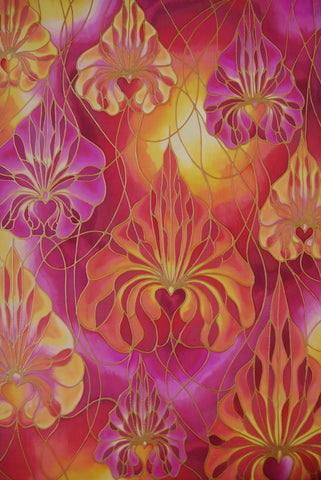 Orchid hand painted silk - Pink and Red Orchid Print - Dramatic art - Meikie Art