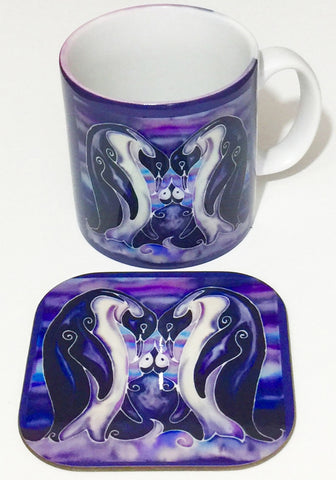 Cute Penguin Family Mug and Coaster box set or mug only In Deep Purple colours