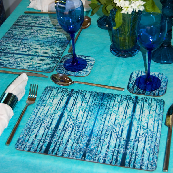 Blue Woods Placemats & Coasters - Teal Green Table Mats - Hard Wearing Tableware - Dining Table Mats - Contemporary Place Mats - Meikie Designs