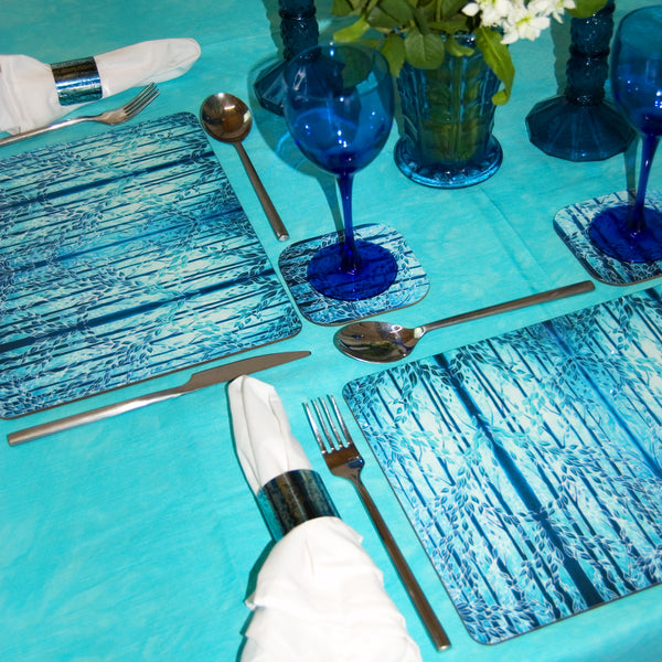 Teal Woods Placemats & Coasters - High Quality Table Mats - Teal Green Blue Tableware