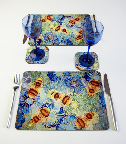 Table Top, Bees and Flowers in Blue Green colourway, available in place mats, coasters, glass chopping boards / counter savers, serving trays, mugs and mouse mats