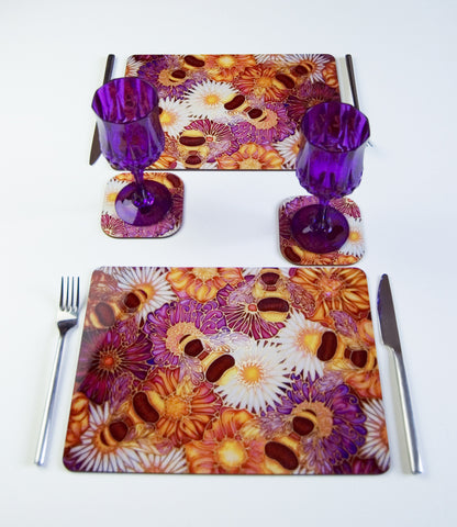 Table Top, Bees and Flowers in plum yellow chocolate, available in place mats, coasters, glass chopping boards / counter savers, serving trays, mugs and mouse mats