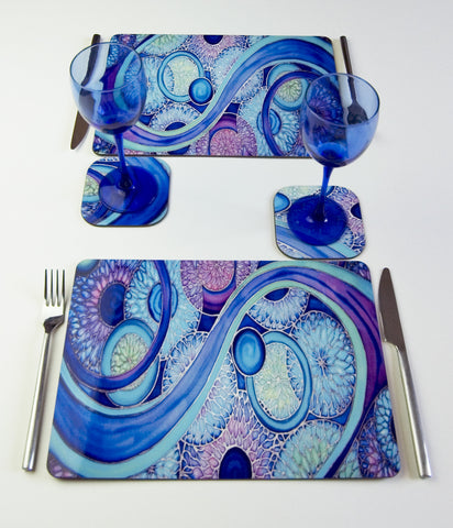Table Top, Circle Organics, in  blue, green, purple and turquoise turquoise, available in place mats, coasters, glass chopping boards / counter savers, serving trays, mugs and mouse mats