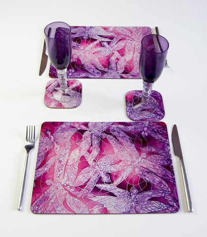 Tableware, Dragonflies design, in pink and purple and, available in place mats, coasters, glass chopping boards / counter savers, serving trays, mugs and mouse mats