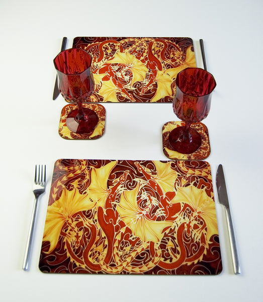 Tableware, Dragon Family in red yellow chocolate, available in place mats, coasters, glass chopping boards / counter savers, serving trays, mugs and mouse mats