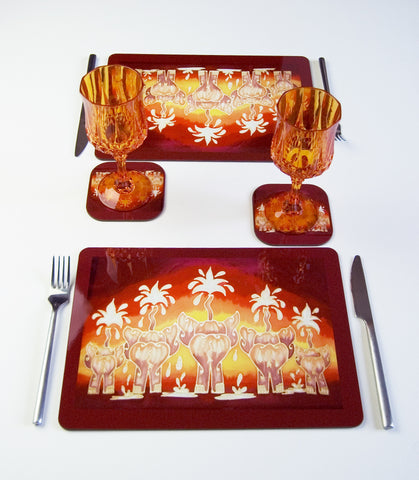 Elephant Tableware - Round Place Mats - Rectangular Table Mats Elephant Family in red yellow chocolate, available in place mats, coasters, glass chopping boards / counter savers, serving trays, mugs and mouse mats