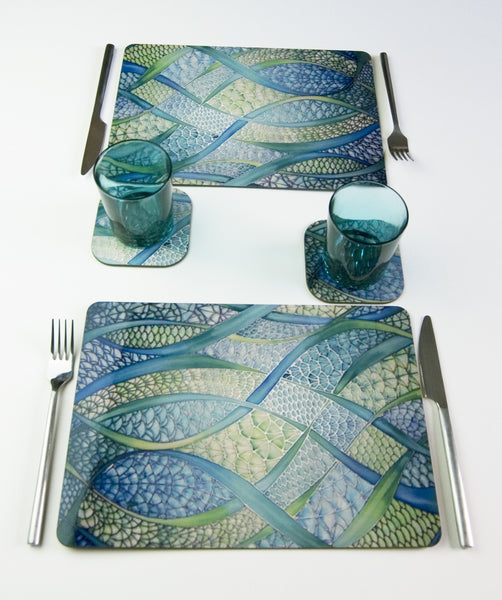 Tableware, Fish Scales design, in green lime turquoise colours, available in place mats, coasters, glass chopping boards / counter savers, serving trays, mugs and mouse mats