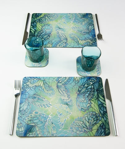 Tableware, Butterflies Round Place Mat or Rectangular Table Mat in green lime turquoise colours, available in place mats, coasters, glass chopping boards / counter savers, serving trays, mugs and mouse mats