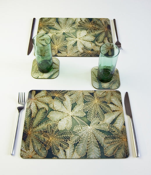 Tableware, Horse Chestnut Leaves design, in classic green colours, available in place mats, coasters, glass chopping boards / counter savers, serving trays, mugs and mouse mats
